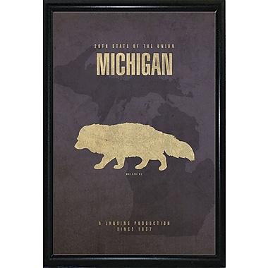 East Urban Home 'Michigan Poster' Graphic Art Print; Metal Flat Black Framed