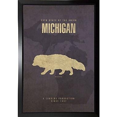 East Urban Home 'Michigan Poster' Graphic Art Print; Plastic Black Framed