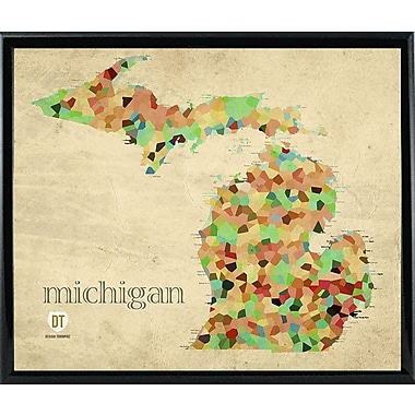 East Urban Home 'Michigan' Graphic Art Print; Metal Black Framed