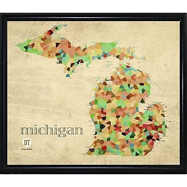 East Urban Home 'Michigan' Graphic Art Print; Metal Flat Black Framed