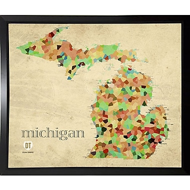 East Urban Home 'Michigan' Graphic Art Print; Plastic Black Framed