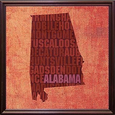 East Urban Home 'Alabama State Words' Graphic Art Print; Cherry Grande Framed