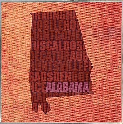 East Urban Home 'Alabama State Words' Graphic Art Print; Metal Silver Framed
