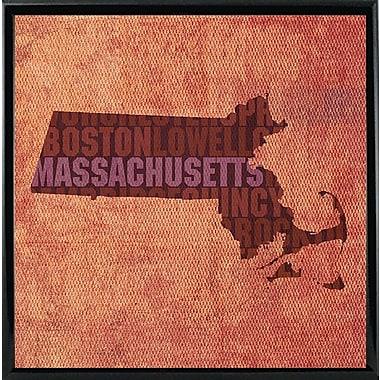 East Urban Home 'Massachusetts State Words' Graphic Art Print; Metal Black Framed