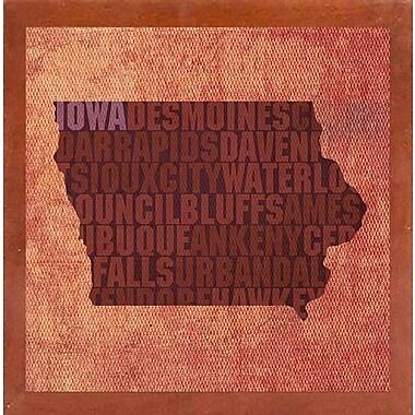 East Urban Home 'Iowa State Words' Graphic Art Print; Canadian Walnut Medium Framed