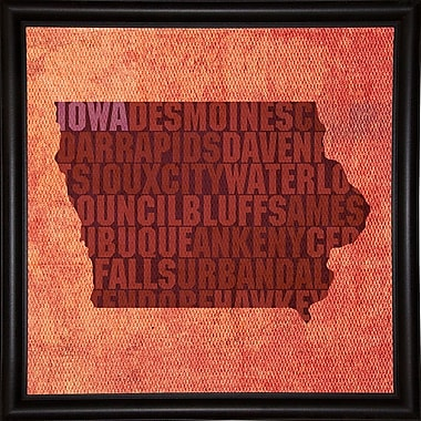 East Urban Home 'Iowa State Words' Graphic Art Print; Bistro Expresso Framed