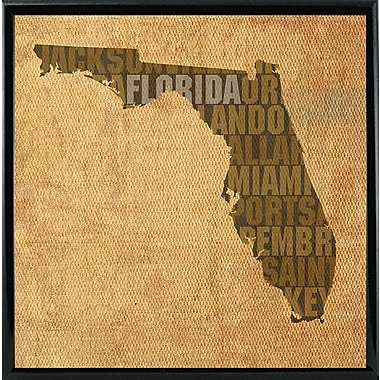 East Urban Home 'Florida State Words' Graphic Art Print; Metal Black Framed