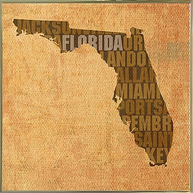 East Urban Home 'Florida State Words' Graphic Art Print; Metal Gold Framed