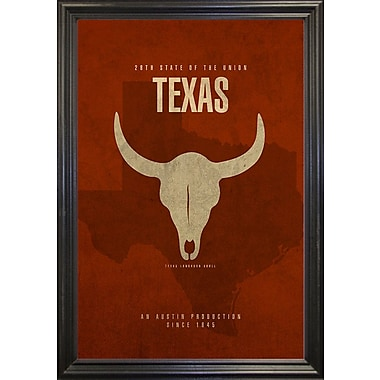 East Urban Home 'Texas Poster' Graphic Art Print; Canvas Maple Floater Framed