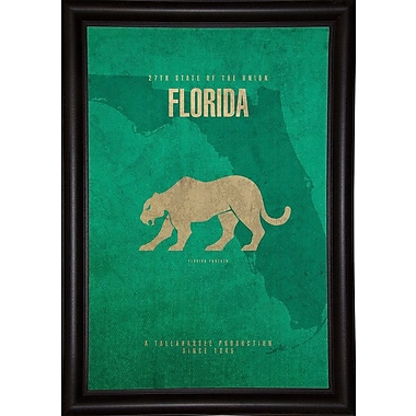 East Urban Home 'Florida Poster' Graphic Art Print; Bistro Expresso Framed