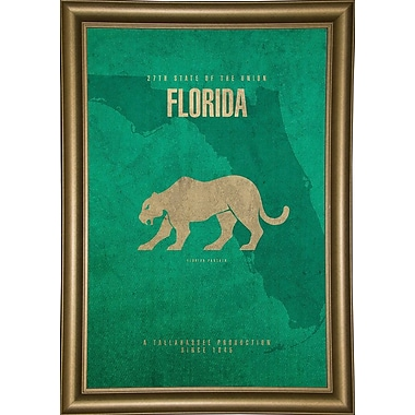 East Urban Home 'Florida Poster' Graphic Art Print; Bistro Gold Framed