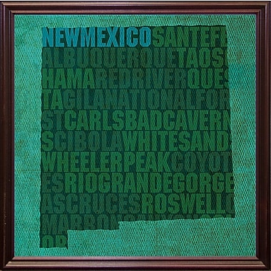 East Urban Home 'New Mexico State Words' Graphic Art Print; Cherry Grande Framed