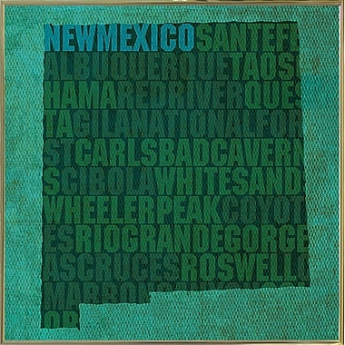 East Urban Home 'New Mexico State Words' Graphic Art Print; Metal Gold Framed