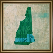 East Urban Home 'New Hampshire State Words' Graphic Art Print; Bistro Gold Framed