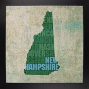 East Urban Home 'New Hampshire State Words' Graphic Art Print; Black Large Framed