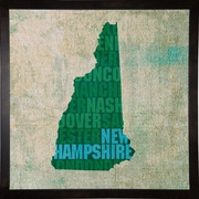 East Urban Home 'New Hampshire State Words' Graphic Art Print; Cafe Espresso Framed