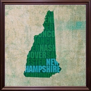 East Urban Home 'New Hampshire State Words' Graphic Art Print; Cherry Grande Framed