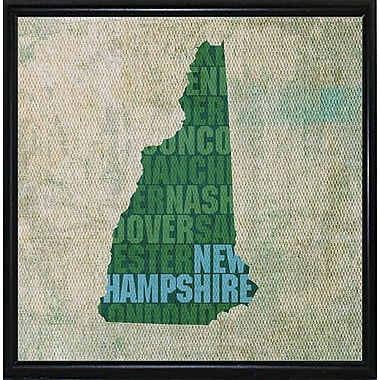 East Urban Home 'New Hampshire State Words' Graphic Art Print; Metal Flat Black Framed