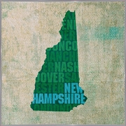 East Urban Home 'New Hampshire State Words' Graphic Art Print; Metal White Framed
