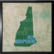 East Urban Home 'New Hampshire State Words' Graphic Art Print; Plastic Black Framed
