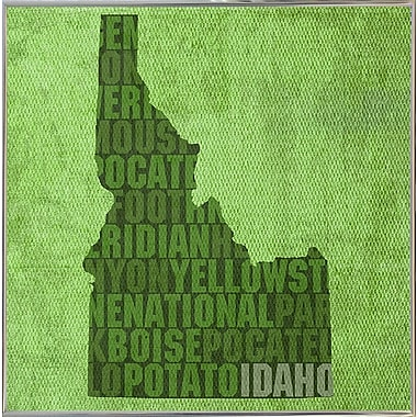 East Urban Home 'Idaho State Words' Graphic Art Print; Metal Silver Framed