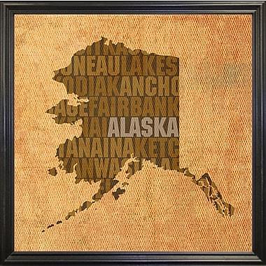 East Urban Home 'Alaska State Words' Graphic Art Print; Black Grande Framed