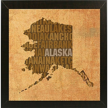 East Urban Home 'Alaska State Words' Graphic Art Print; Brazilian Walnut Medium Framed