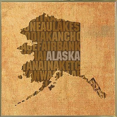 East Urban Home 'Alaska State Words' Graphic Art Print; Metal Gold Framed