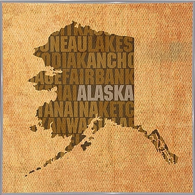 East Urban Home 'Alaska State Words' Graphic Art Print; Metal White Framed