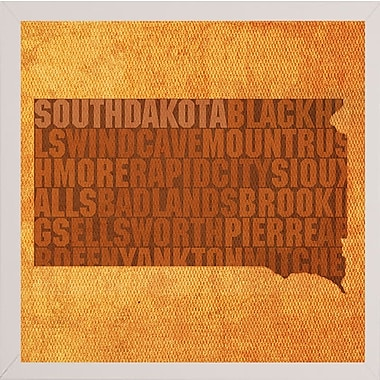 East Urban Home 'South Dakota State Words' Graphic Art Print; White Medium Framed