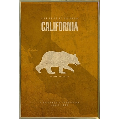 East Urban Home 'California Poster' Graphic Art Print; Metal Gold Framed
