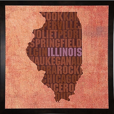 East Urban Home 'Illinois State Words' Graphic Art Print; Black Medium Framed