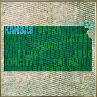 East Urban Home 'Kansas State Words' Graphic Art Print; Metal Gold Framed