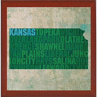 East Urban Home 'Kansas State Words' Graphic Art Print; Red Mahogany Medium Framed