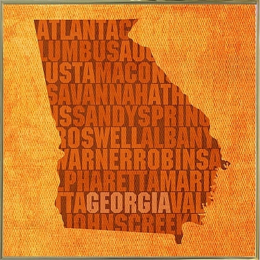 East Urban Home 'Georgia State Words' Graphic Art Print; Metal Gold Framed