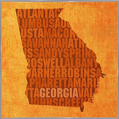 East Urban Home 'Georgia State Words' Graphic Art Print; Metal White Framed