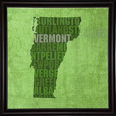 East Urban Home 'Vermont State Words' Graphic Art Print; Bistro Expresso Framed