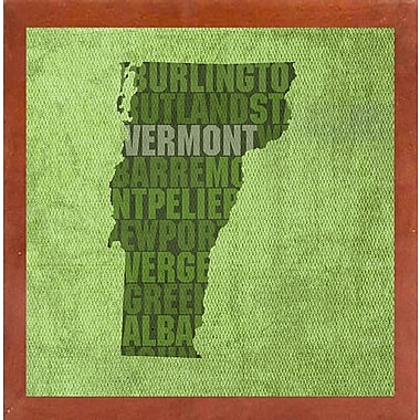 East Urban Home 'Vermont State Words' Graphic Art Print; Canadian Walnut Medium Framed