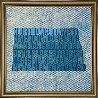 East Urban Home 'North Dakota State Words' Graphic Art Print; Bistro Gold Framed