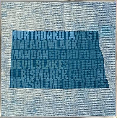 East Urban Home 'North Dakota State Words' Graphic Art Print; Metal Silver Framed