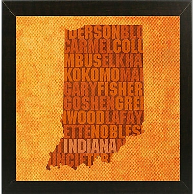 East Urban Home 'Indiana State Words' Graphic Art Print; Brazilian Walnut Medium Framed