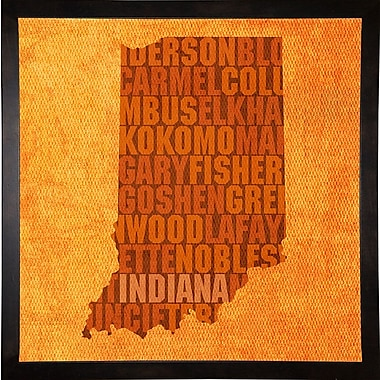 East Urban Home 'Indiana State Words' Graphic Art Print; Cafe Espresso Framed