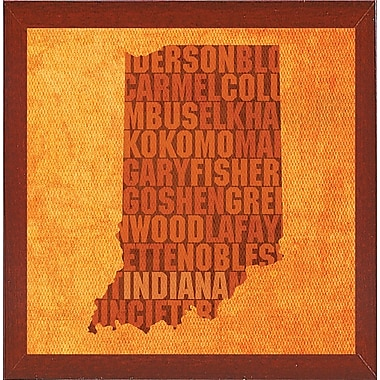 East Urban Home 'Indiana State Words' Graphic Art Print; Red Mahogany Medium Framed