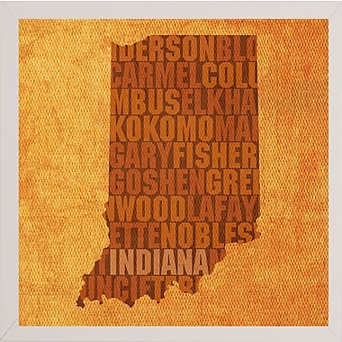 East Urban Home 'Indiana State Words' Graphic Art Print; White Medium Framed