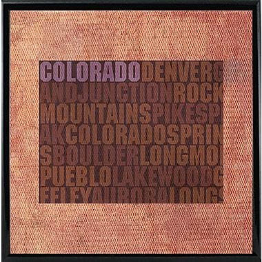 East Urban Home 'Colorado State Words' Graphic Art Print; Metal Black Framed