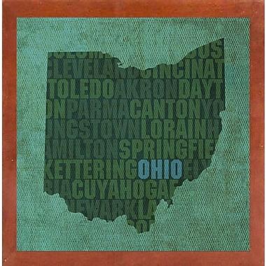 East Urban Home 'Ohio State Words' Graphic Art Print; Canadian Walnut Medium Framed
