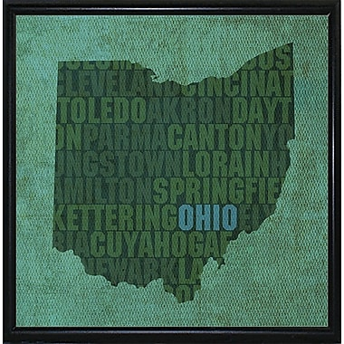 East Urban Home 'Ohio State Words' Graphic Art Print; Metal Flat Black Framed