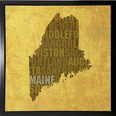 East Urban Home 'Maine State Words' Graphic Art Print; Plastic Black Framed