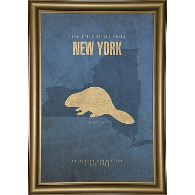 East Urban Home 'New York Poster' Graphic Art Print; Bistro Gold Framed