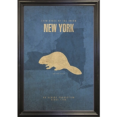 East Urban Home 'New York Poster' Graphic Art Print; Canvas Maple Floater Framed